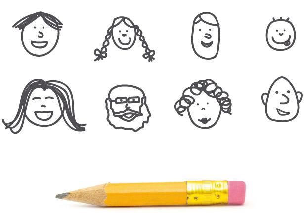foto del contenido de inicio en la que salen caras sonrientes dibujadas y un lápiz